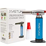 MASTUKA Professional Culinary Butane Torch - Multifunctional Refillable Aluminum Cooking Torch - Safety Lock & Adjustable Flame - Perfect for Crème Brûleé, Cooking, Baking, BBQ - FREE BBQ Bottle Brush