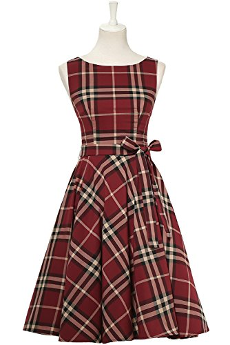MARSEN Women's Tartan Boat Neck Billowing Skirts Checked Dress, Red 1, X-Large