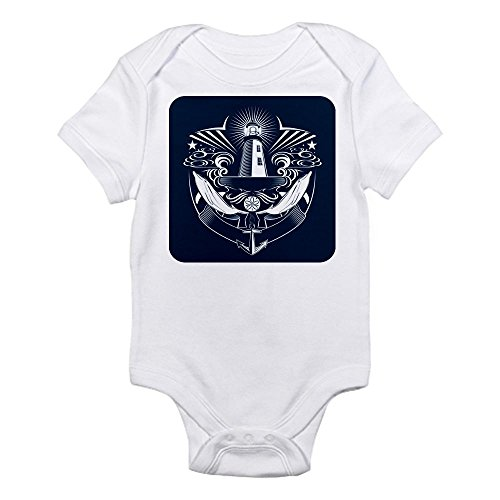 Royal Lion Infant Bodysuit Lighthouse Crest Anchor Dolphins - Cloud White, 12 to 18 Months