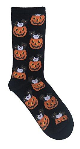 MeMoi Halloween Themed Kitties in Pumpkins Novelty Crew Sock (Pumpkin Socks)