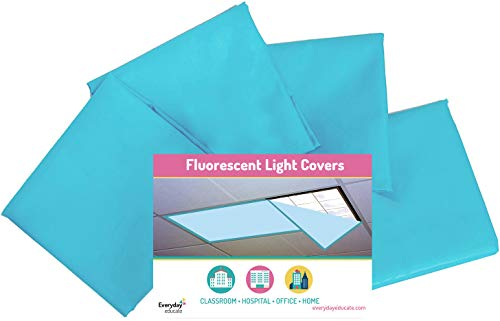 (Fluorescent Light Covers Cozy Shades - Softening Light Filter, Light Diffuser for Game Room, Classroom, Office, Kids Bedrooms, or Hospital Room 48 x 24 inches - Set of 4 - Tranquil Sky Blue )