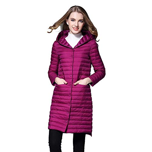 Doudoune Femme Hiver Longues Manteaux lgant Mode Legere Outerwear Spcial Style Lgrement Rembourr Slim Fit Impermable Warm Gaine A Capuche Bouton (Color : Rose, Size : M)