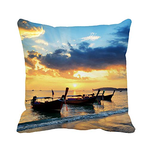 (Awowee Throw Pillow Cover Traditional Thai Boats at Sunset Beach Ao Nang Krabi 20x20 Inches Pillowcase Home Decorative Square Pillow Case Cushion Cover)