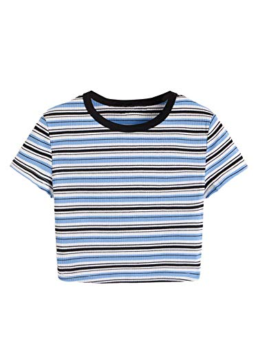 Verdusa Women's Contrast Tape Striped Print Ribbed Tee Crop Top Multicolor L