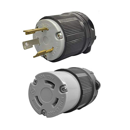 YUADON UL Listed 125 Volt,30 Amp,NEMA L5-30 Sets, NEMA L5-30R, NEMA L5-30P,Locking Plug Receptacle,Grounding,2 Poles,3 Wires,Industrial ()