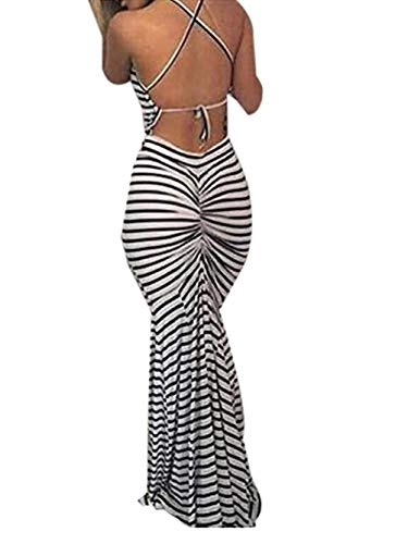 Famulily Women's Sexy Bodycon Backless Striped Long Maxi Dress in Zebra Stripes -