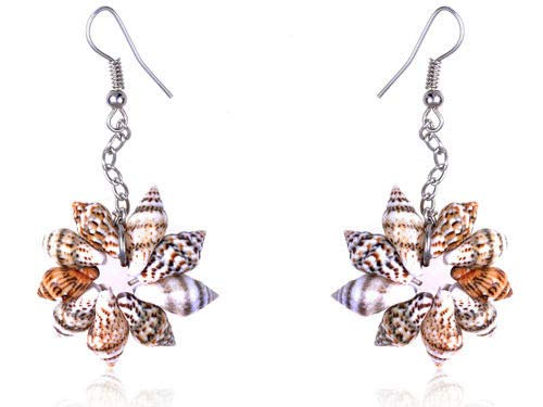 - Sandy Tan Brown Colored Seashell Sea Shell Flower Design Fashion Drop Earrings