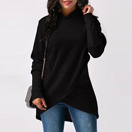 sudadera mujer OverDose capucha de blusa asimétrico dobladillo y Negro con elegantes abrigos SxqaO5