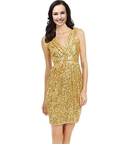 Lemai V Neck Sequined Short Prom Cocktail Bridesmaid Dresses Plus Size Gold US 20W