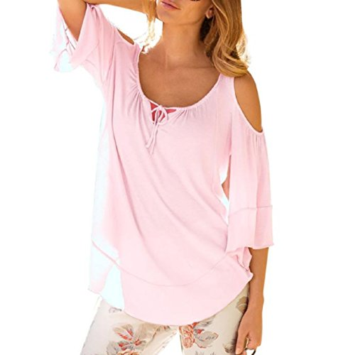 Blouse,Vovotrade Ladies Fashion Summer Loose Top Half Sleeve T-Shirt (Size:S, Pink)