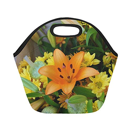 Insulated Neoprene Lunch Bag Asiatic Lily Floral Bouquet Blossom Flora Large Size Reusable Thermal Thick Lunch Tote Bags For Lunch Boxes For Outdoors,work, Office, School