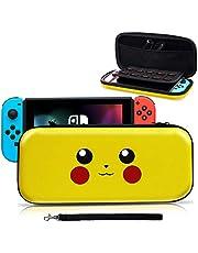 Funda para Switch, [Diseño para Pikachu/Pokemon][Estuche Protector Portátil ] Funda de Viaje Transportar para Switch Accesorios- Amarillo