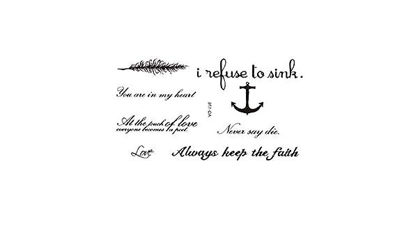 Tatuaje temporal pegatinas palabras letras tatuajes falsos adultos ...