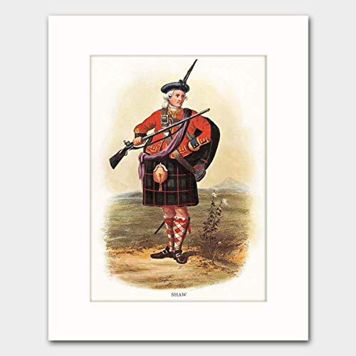 Shaw Clan, Family Name Art w/Mat (Scotland Wall Decor, Surname Artwork, Scottish Highlands Dress) - Matted Print (English Laws For Women In The Nineteenth Century)