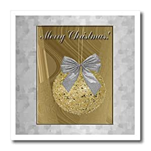 ht_34371_2 Beverly Turner Christmas Design - Gold Ornament with Silver Bow, Merry Christmas - Iron on Heat Transfers - 6x6 Iron on Heat Transfer for White Material