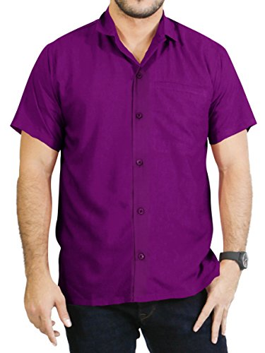 LA LEELA Rayon Plain Officewear Camp Shirt Violet
