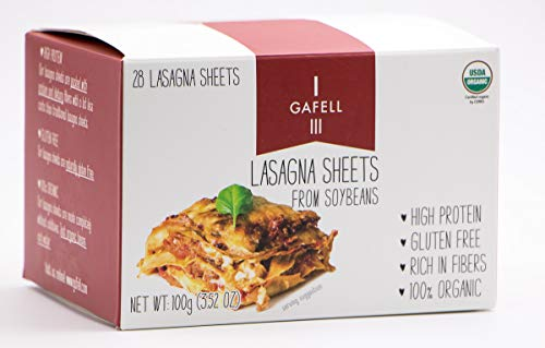 GAFELL - Lasagna sheets from Soybeans, Organic, Gluten Free, 3.52 OZ, (Pack of 3)