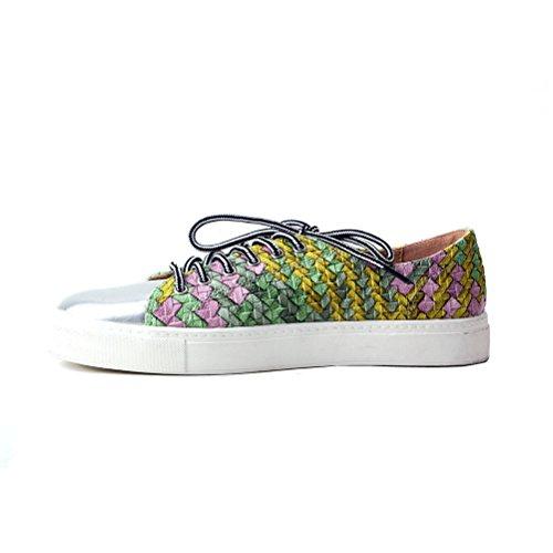 Tongpu Zapatos Cómodos Con Cordones Para Mujer Con Cordones Zapatos De Color Mezclado Verde