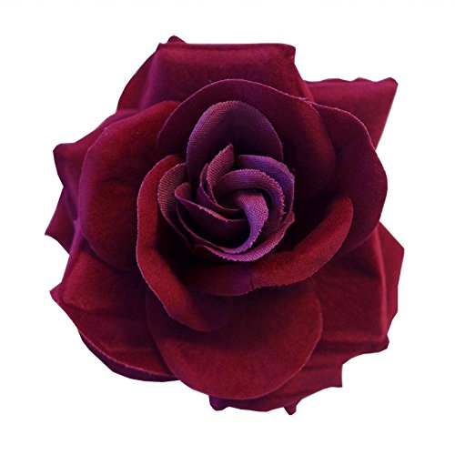 Price comparison product image Dark Red Burgundy Large Clip On Flamenco Gothic Day Of Dead Hair Rose Flower