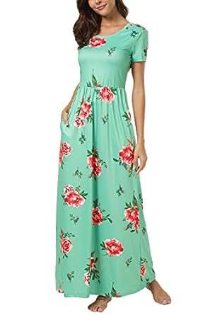 Zattcas Womens Floral Maxi Dress Pockets Short Sleeve