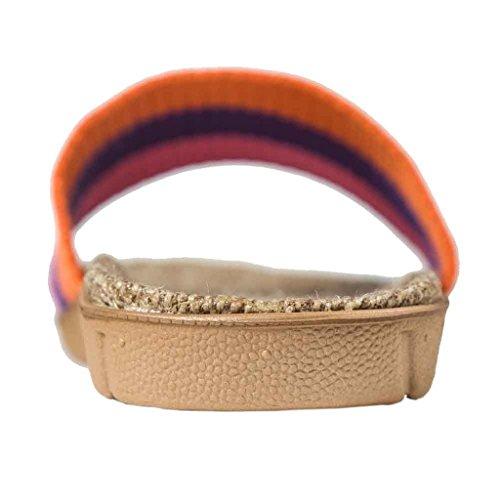 Oriskey Unisex Damen Herren Leinen Stripes Flache Hausschuhe Skidproof Haus Indoor Pantoffeln Sommer Orange + Violett + Rosa