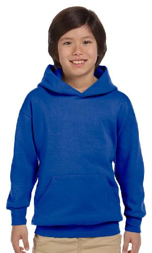 Hanes 7.8 oz Youth COMFORTBLEND EcoSmart Fleece Pullover Hood,Medium,Deep Royal