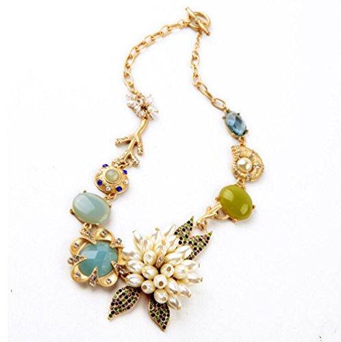 Gudeke Mode Simple Femmes Perle Fleur Bohemia Gem Collier avec 47cm Chain