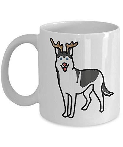Husky Reindeer Costume Christmas Coffee Mug Funny Cup Tea Gift For Christmas Father's day Xmas Dad Anniversary Mother's day Papa Heart San -