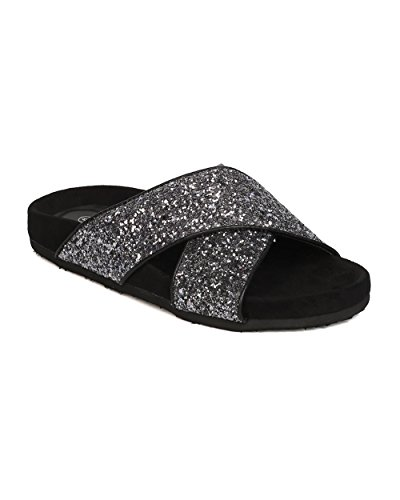 Sandalo Betani Sandalo Donna Glitter - Casual, Abbigliamento Quotidiano, Street Fashion - Pantofola Crossband - Gc10 By Black