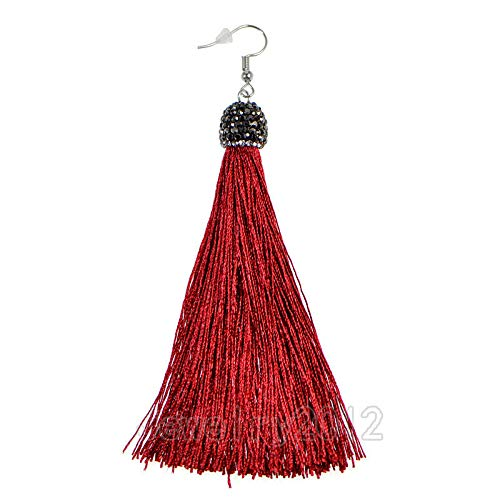 - FidgetKute Fashion Charm Crystal Silk Tassel Rhinestone Cap Fringe Dangle Ear Stud Earrings 13 Bordeaux Red 2pairs One Size