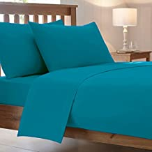 Cotton Works Luxury Combed Poly Cotton Bed Fitted Sheets Pollycotton Pillow Cover Double Teal