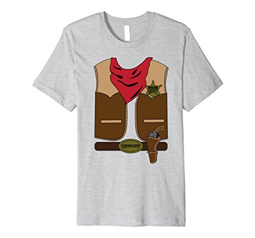 Mens Western Cowboy Costume Outfit Shirt | Halloween T-Shirt Small Heather (Cowboy Outfits For Men)