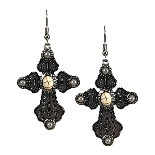 - NoraJae Gems Detailed Silver Cross Earrings with White & Pearl Stone Accent