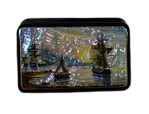 Russian Lacquer Box #3966 SEASCAPE (on the Mother of Pearl)