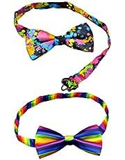 FENICAL Corbata de Moño de Rendimiento de Boda Corbata de Lazo Ajustable para Fiesta de Boda (Arco Iris Color de Flores) 2 Piezas