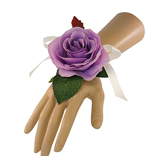 Wrist Corsage with pearl wristband-artificial roses hydrangea (lilac)