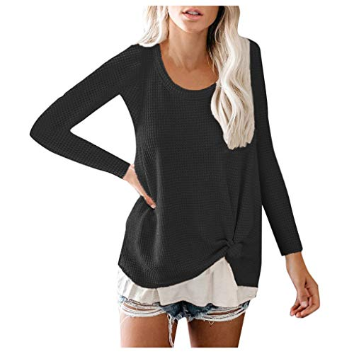 Xinantime Womens Loose Waffle Shirts Casual Knitting Solid Sweater Loose Long Sleeve Top Blouse ()