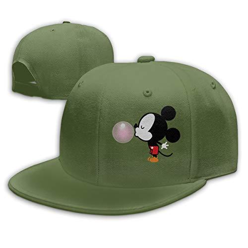 Sakanpo Balloon Mickey Mouse Flat Visor Baseball Cap, Designed Snapback Hat Moss Green