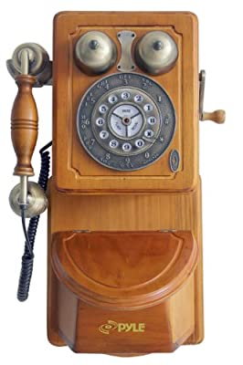 Pyle PRT45 Retro Antique Country Wall Phone - Retail Packaging - Wood