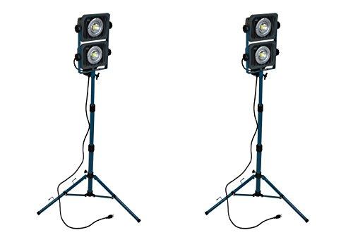 TEMCo QTY 2 Tripod HD LED Portable Utility Flood Work Light 2x30W 110 v 120 v 5100 Lumens Equivalent to 300 Watt Halogen
