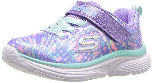 Skechers Kids Girls' Wavy Lites Sneaker, Lavender/Multi, 1 Medium US Little Kid (Sneakers Skechers Girls)