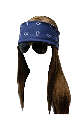 Rose Costume Womens Axl (AXL Rose WIG SET w/ Sunglasses Bandanna Heavy Metal Gun and)