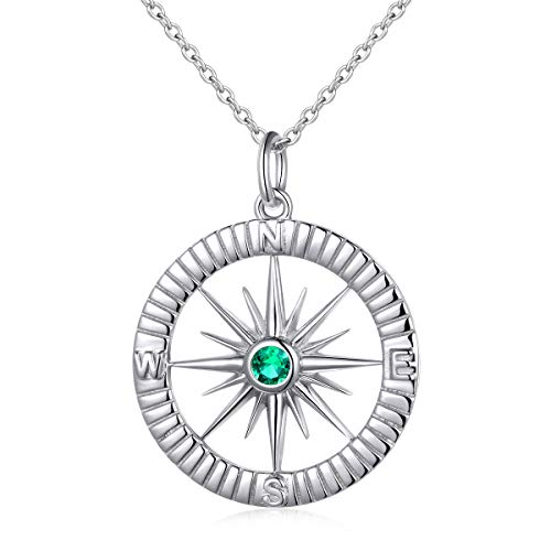 S925 Sterling Silver Simulate Birthstones Compass No Matter Where Bracelet and Pendant Necklace 18