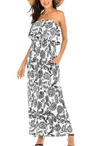 (MIDOSOO Womens Floral Print Strapless Tube Bohemian Party Beach Long Maxi Dress-Black-S)