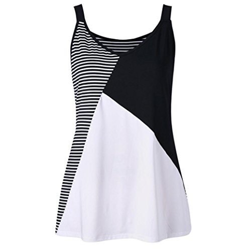 Golf Plus Size T-shirt - NREALY Plus Size Tank Tops, Women's Stripe Patchwork SleevelessVest O-Neck T-Shirt (2XL, Black)