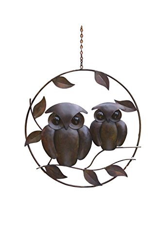 Hanging Owl (Ancient Graffiti Flamed Copper Twin Owls On Branches Circlet Hanging Art Ornament, 13.5