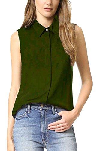 Vepodrau Le T - Shirt Pulsante Senza Maniche Irregolare Solido Camicette Green