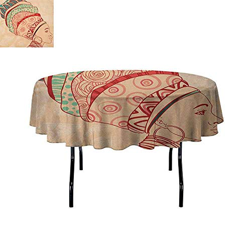 Douglas Hill African Woman Leakproof Polyester Tablecloth Local Female Portrait with Necklace Earring and Ethnic Turban Ornaments Outdoor and Indoor use D55 Inch Peach Red Teal ()