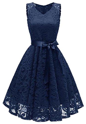 Clubwear Floral Lace Short Womens Dress Crochet Belted Jaycargogo 1 Sleeve Swing Retro wTzqFS