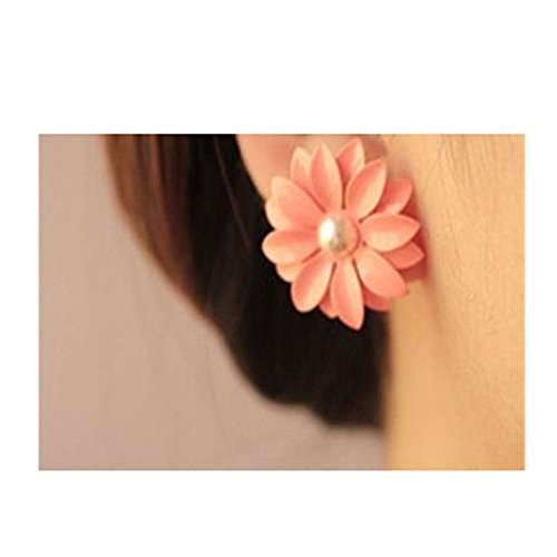 HuaYang Sweet Lovely Pink Daisy Flower Pearl 1 Pair Earrings